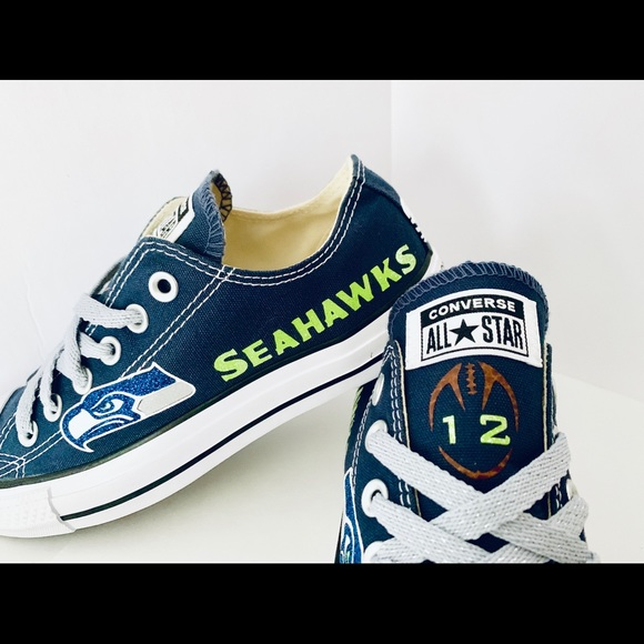 Seattle Seahawks Custom Converse Shoes NWT